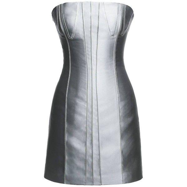 Leka - Silver Metallic Mini Dress (310 NZD) ❤ liked on Polyvore