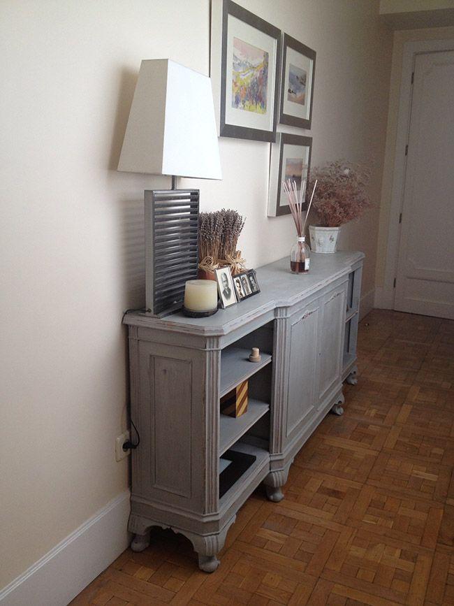 Mueble pintado provenzal dommuss pinterest living for Como pintar un mueble oscuro en blanco envejecido