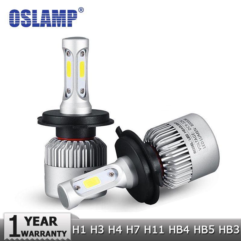 Oslamp H4 H7 H11 H1 H13 H3 Cob Led Car Headlight Bulb Hi Lo Beam 72w 8000lm 6500k Auto Headlamp 12v 24v Car Headlight Bulbs Led Headlights Cars Headlight Bulbs