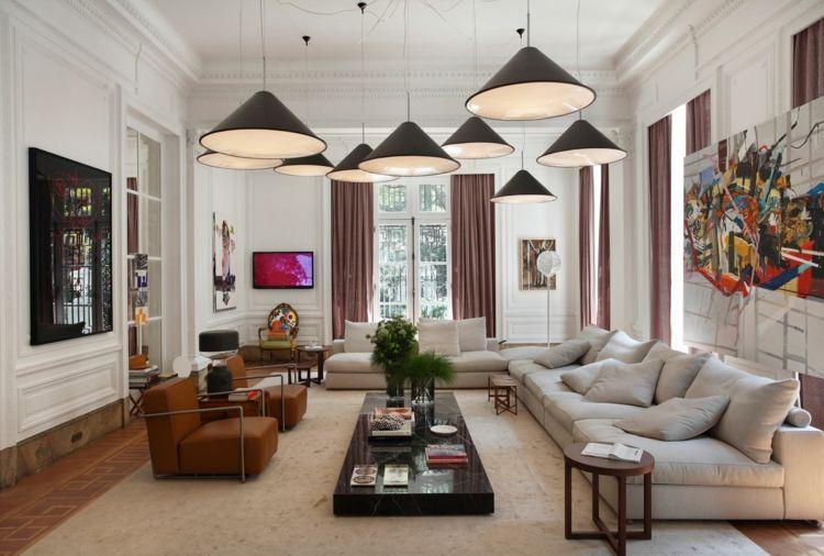 wohnzimmer couch sessel-braun-lampen-idee-wandvertäfelung | Sofa ...