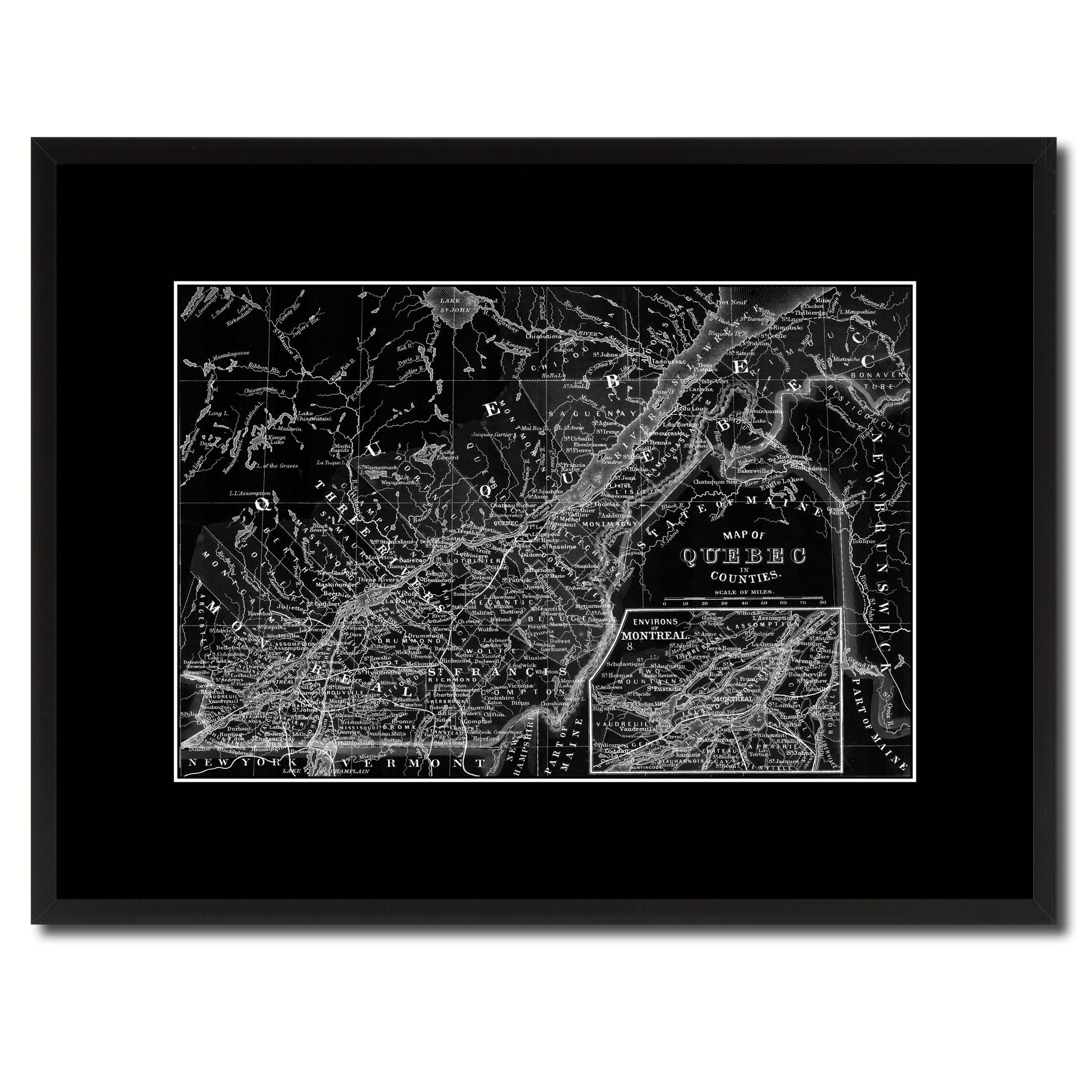 Quebec Montreal Vintage Monochrome Map Canvas Print Gifts Picture Frames Home Decor Wall Art