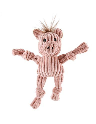 Hugglehounds Plush Corduroy Durable Wee Huggles Pig Dog Toy Pink