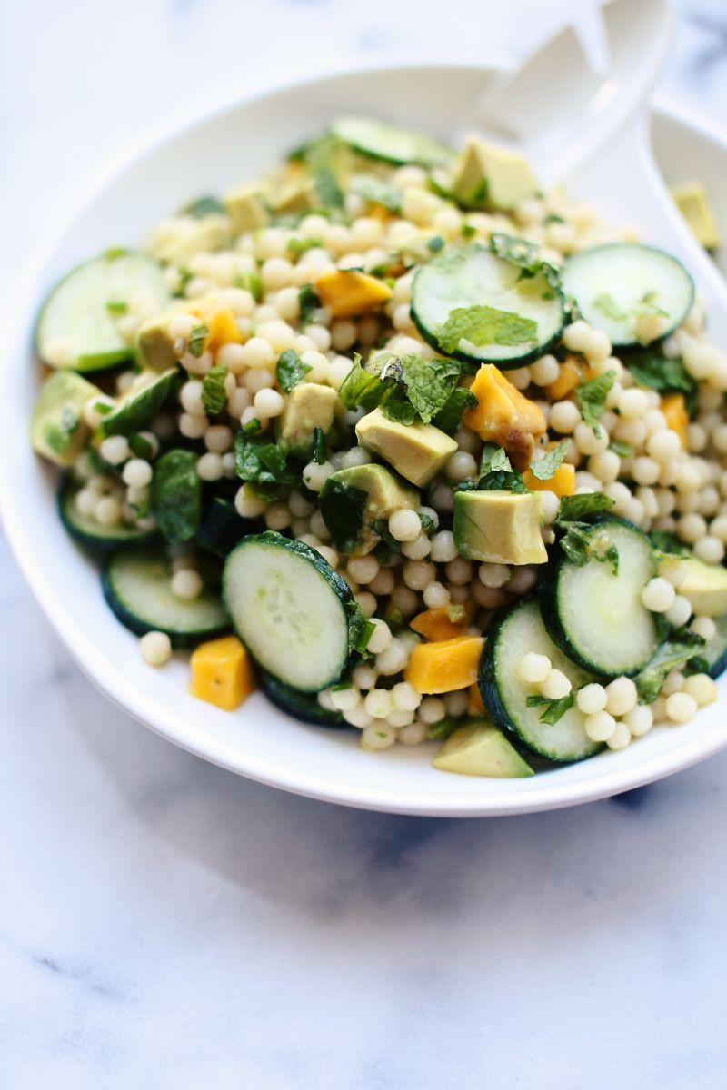 Cucumber Mango Avocado Israeli Couscous Salad With Mint Chile Vinaigrette Foodess Couscous Salad Israeli Couscous Salad Food