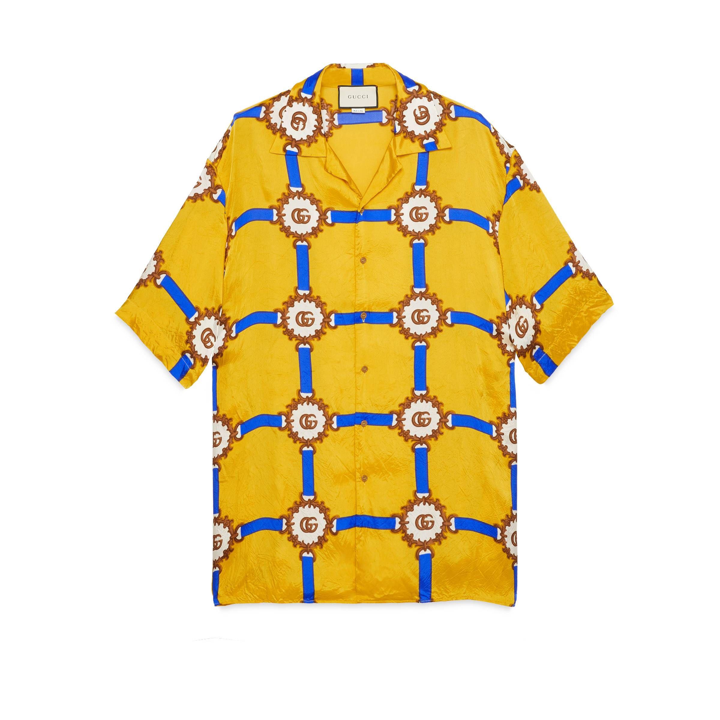 5668ccc3547e GUCCI BOWLING SHIRT WITH GG HARNESS PRINT. #gucci #cloth | Gucci in ...