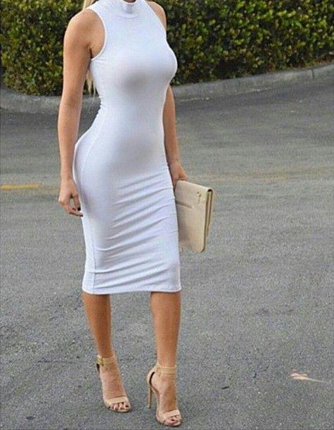 Sleeveless Dress Turtleneck Exposed Back Zipper Slight