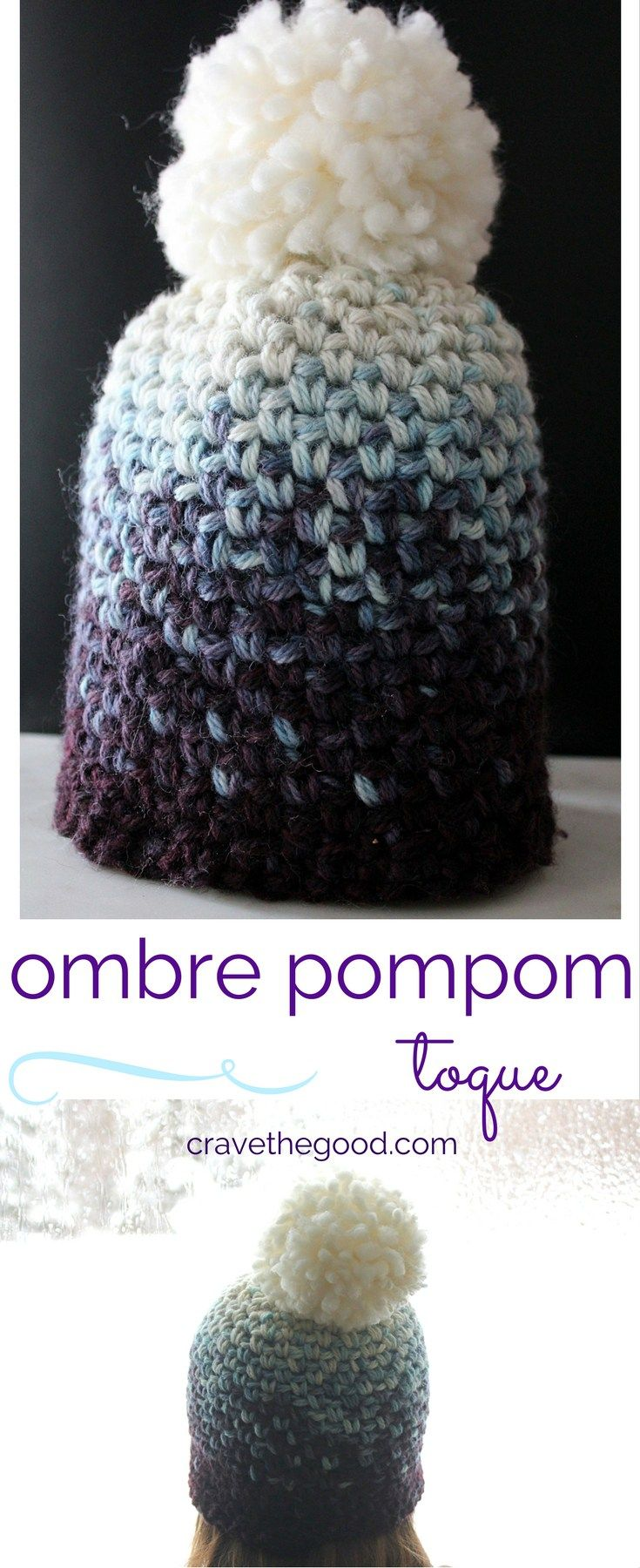 DIY} Ombre PomPom Toque | Free crochet, Crochet and Patterns