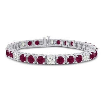 16ct Ruby and Diamond Bracelet in 14k White Gold