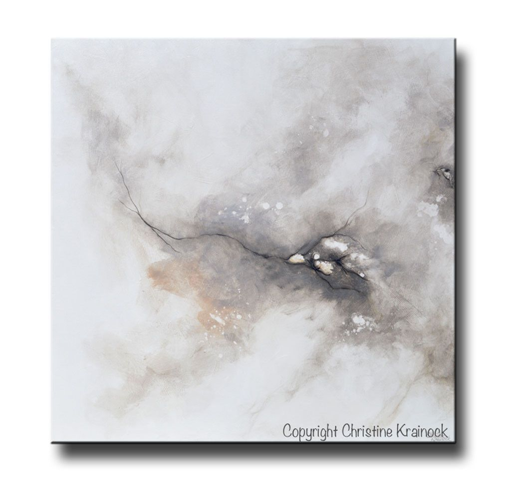 """ORIGINAL Art Abstract Grey White Painting """"Introspective"""" Original Abstract Painting. Modern, Large Art, Wall Art, Coastal, Home Decor. textured, palette knife, fine art with neutral earthy shades of grey, taupe, beige, black & white. which come together exhibiting a marbleized organic feel. Home decor, white living room. Mixed media acrylic on a36x36"""" canvas. Beautiful organic, effect. Coastal Contemporary Modern Neutral Grey Taupe Wall Art - Contemporary Artist, Christine Krainock…"""