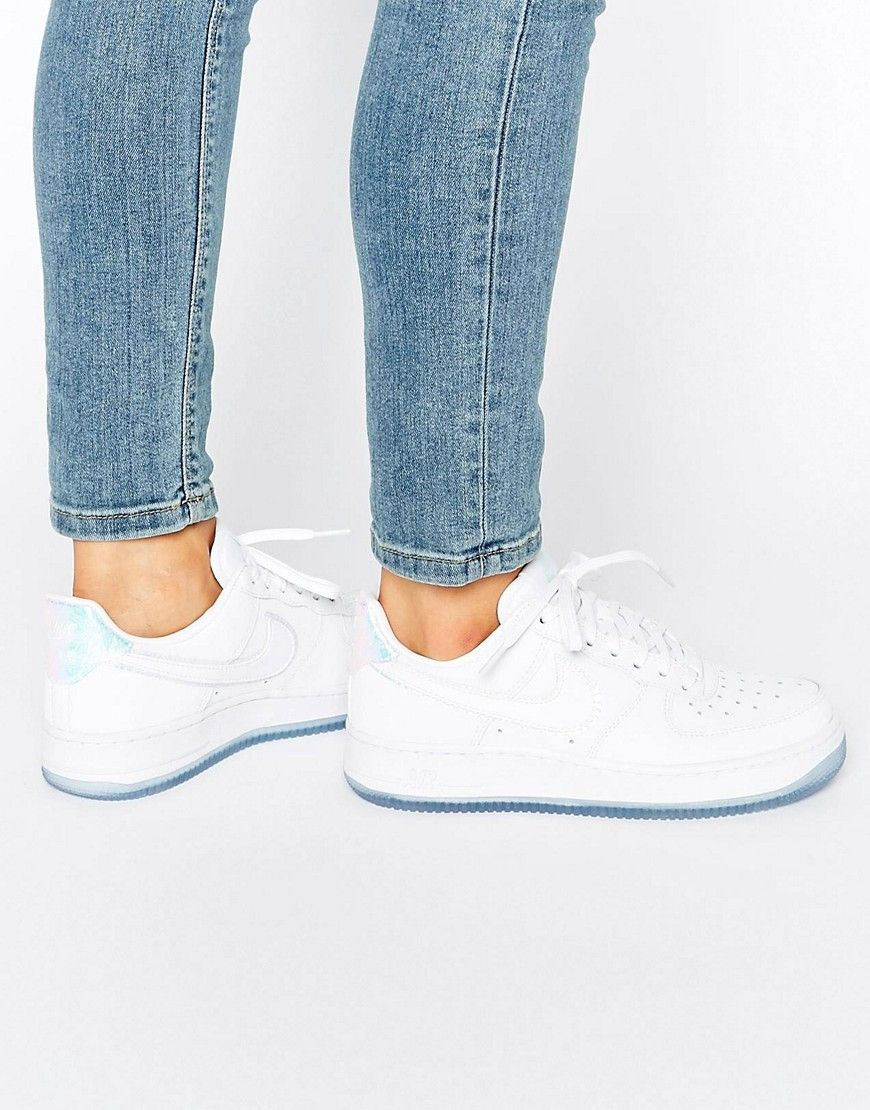 8ab0c5f5388bb Image 1 of Nike Air Force 1  07 Trainers In Holographic White ...