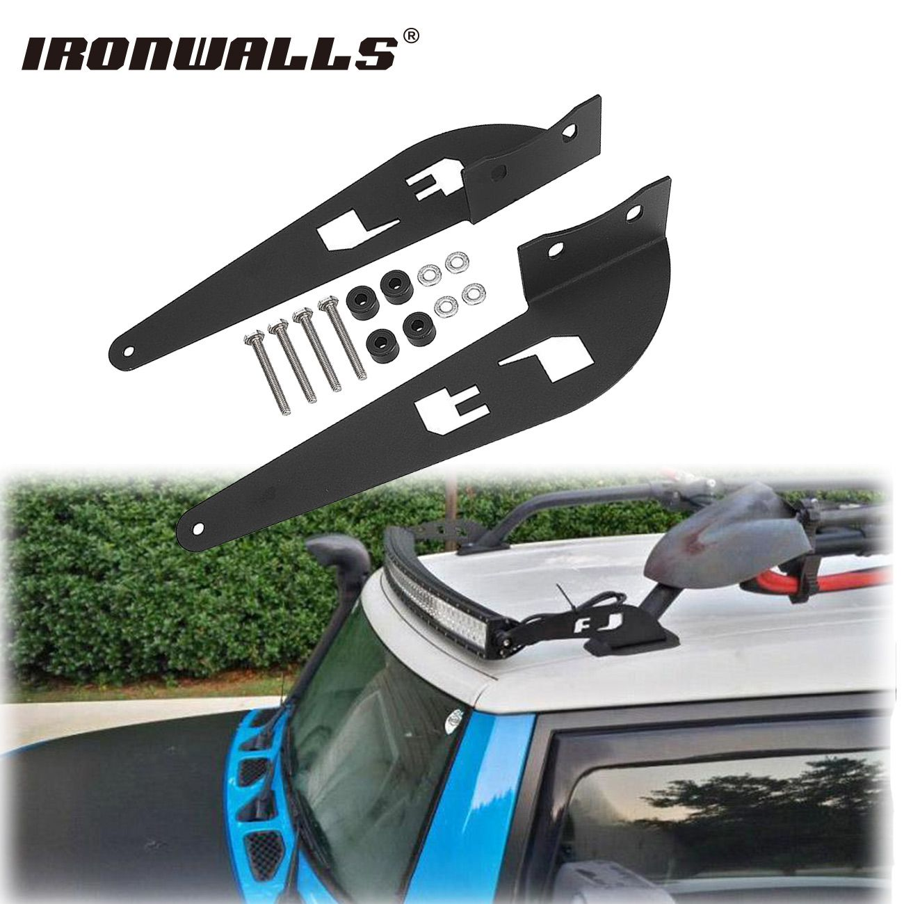 Ironwalls Pair 52inch Led Light Bar Mounting Brackets Mount Kit Car Offroad Straight Curved Base For Toyota Fj Cruiser R Toyota Fj Cruiser Fj Cruiser Roof Rack