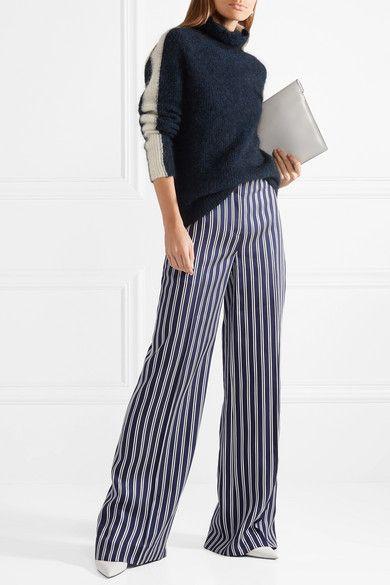 Buy Cheap Clearance Striped Satin-twill Wide-leg Pants - Navy Diane Von F Wholesale Quality e31CcQ0