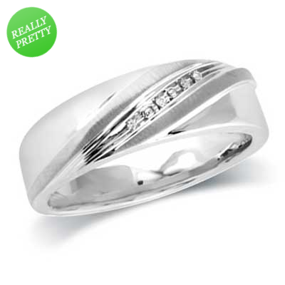 Zales Mens 1/10 CT. T.w. Diamond Slant Band in Sterling Silver 6CpxKiNt