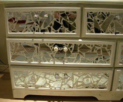 Broken Mirror Dresser Tutorial Tiling Mirror Dresser With