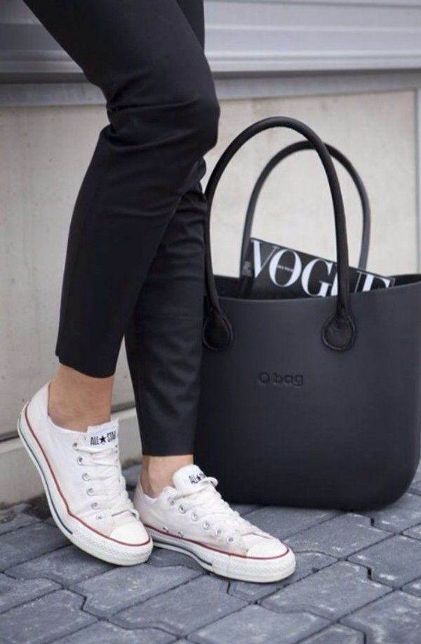 Black pants + white Converse #BWStyle