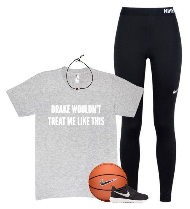 """I wanna play basketball rn but I don't have anyone to play with :("" by graciegirl2015 ❤ liked on Polyvore featuring NIKE"