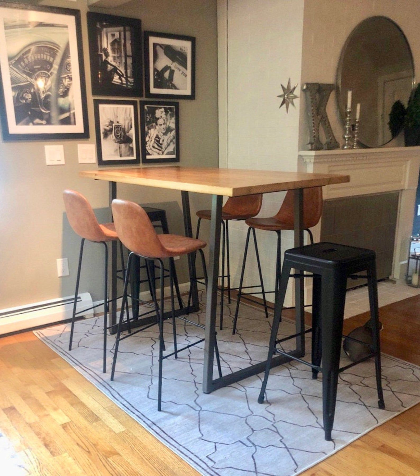 Solid Wood Bar Height Or Counter Height Table Pub Table With Reclaimed Wood And Flared U Steel Legs Choose Color Size Thickness Finish Cuisine Appartement Mobilier De Salon Meuble Acier