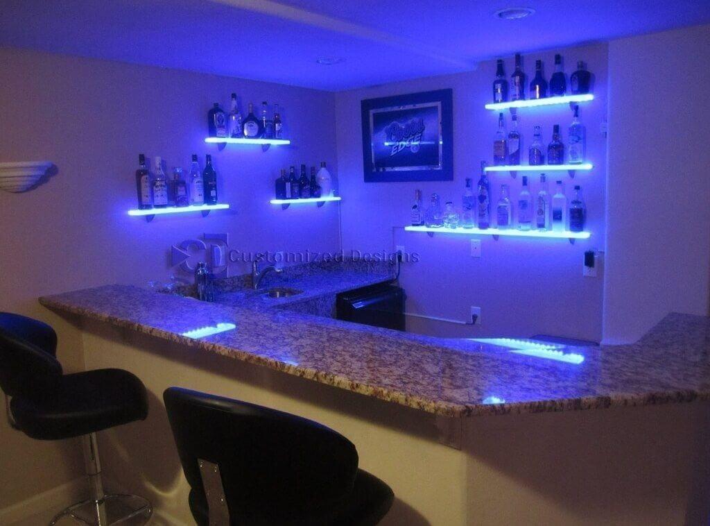 Bar Floating Glass Shelf With Stunning Led Lighting Floating Glass ...