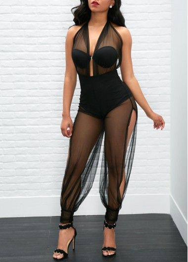 ed1e8ba5ab4 Open Back Semi Sheer Black Jumpsuit with cheap wholesale price