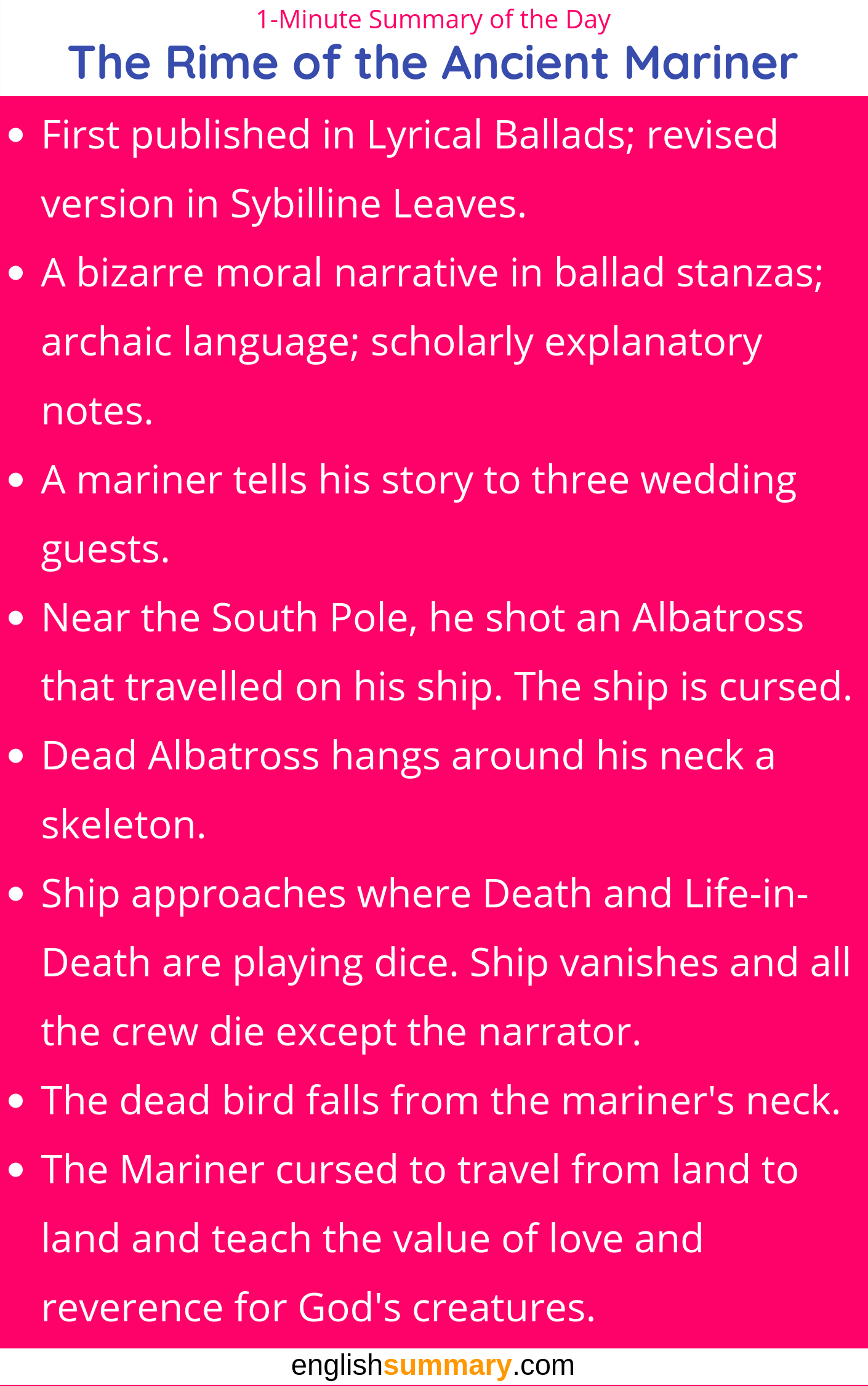 The Rime Of Ancient Mariner Short Summary Teaching Literature Literary Terms Part V