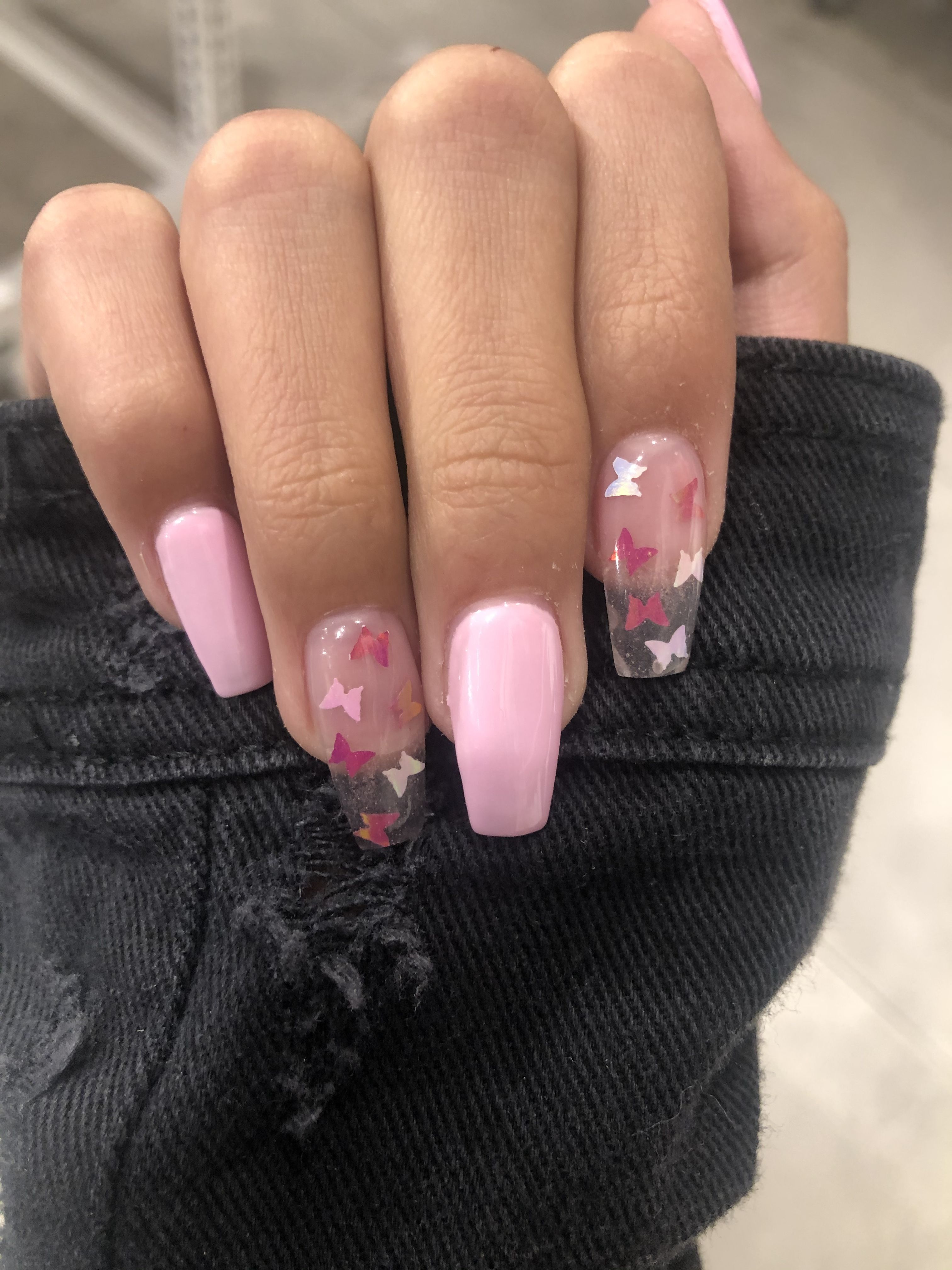 Baby Pink Butterfly Nails In 2020 Acrylic Nails Coffin Pink Pink Acrylic Nails Acrylic Nails Coffin Short