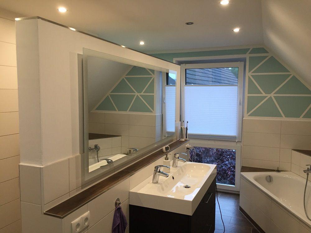Badspiegel Mit Beleuchtung Komplettiert Unsere Badezimmerplanung Badezimmer Badspiegel Zimmer