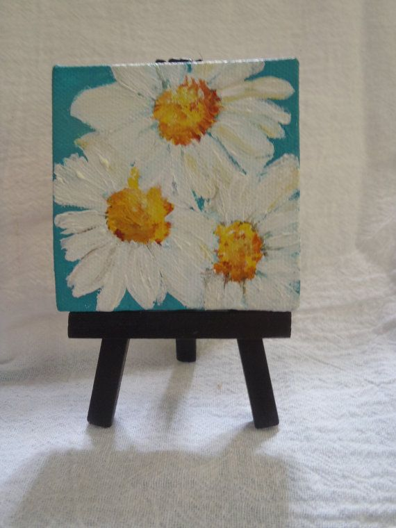 Shasta Daisies Mini Painting Original On Canvas With Mini Easel On Multi Color Background Mini Canvas Daisies Acrylic Painting Flowers Small Canvas Paintings Small Canvas Art Mini Canvas Art
