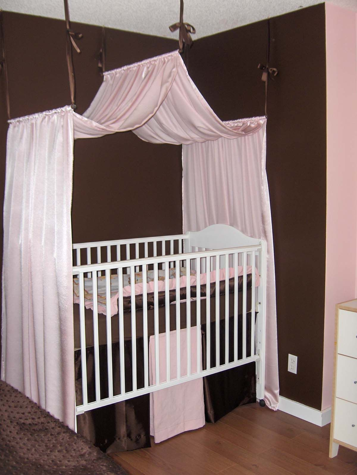 White Wooden Rectangle Baby Crib with Brown Soft Mattress Accessories and Soft Pink Canopy hanging on the Brown Ribbons for Baby Nursery Crib Decorating ... & Witching Canopy Baby Cribs For Cute Nursery Room : Chic White ...