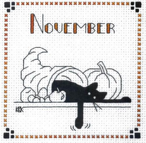 """Finished Completed Cross Stitch Kats by Kelly""""November"""" 