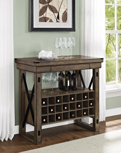 Genial Wine Rack Bar Cabinet Rustic Grey Buffet Serving Sideboard Expandable 24  Cubbies