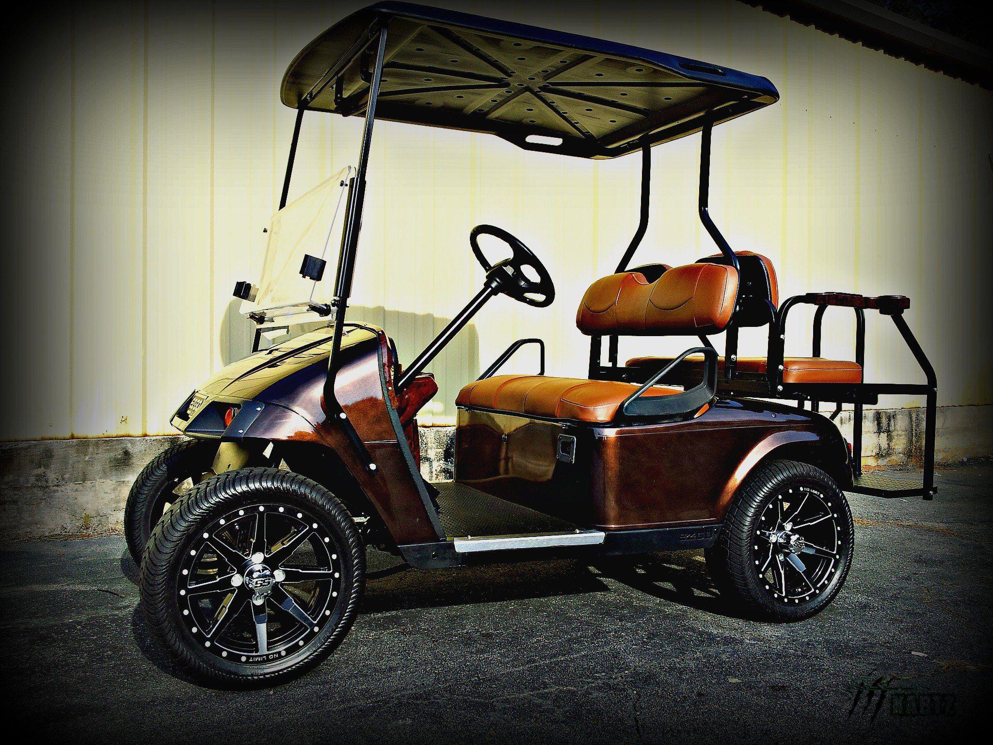 14 Gloss Black Tracer Octanes With Bullet Edge On A Golf Car Golf Car Golf Carts Golf