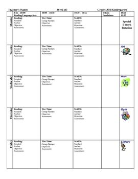 This Block Lesson Plan Template Can Be Used For Any Grade Level