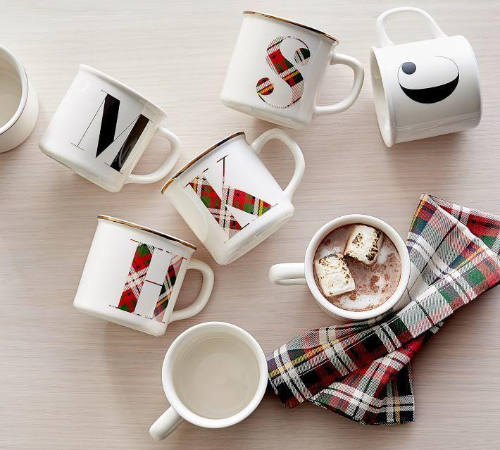 Plaid Alphabet Mugs From Pottery Barn Make A Cute Gift