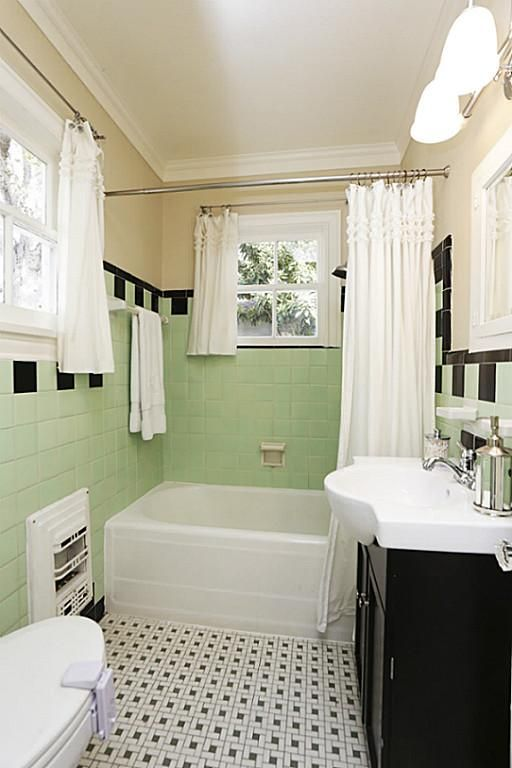 Secondary bathroom with great period style green & white mosaic tile ...
