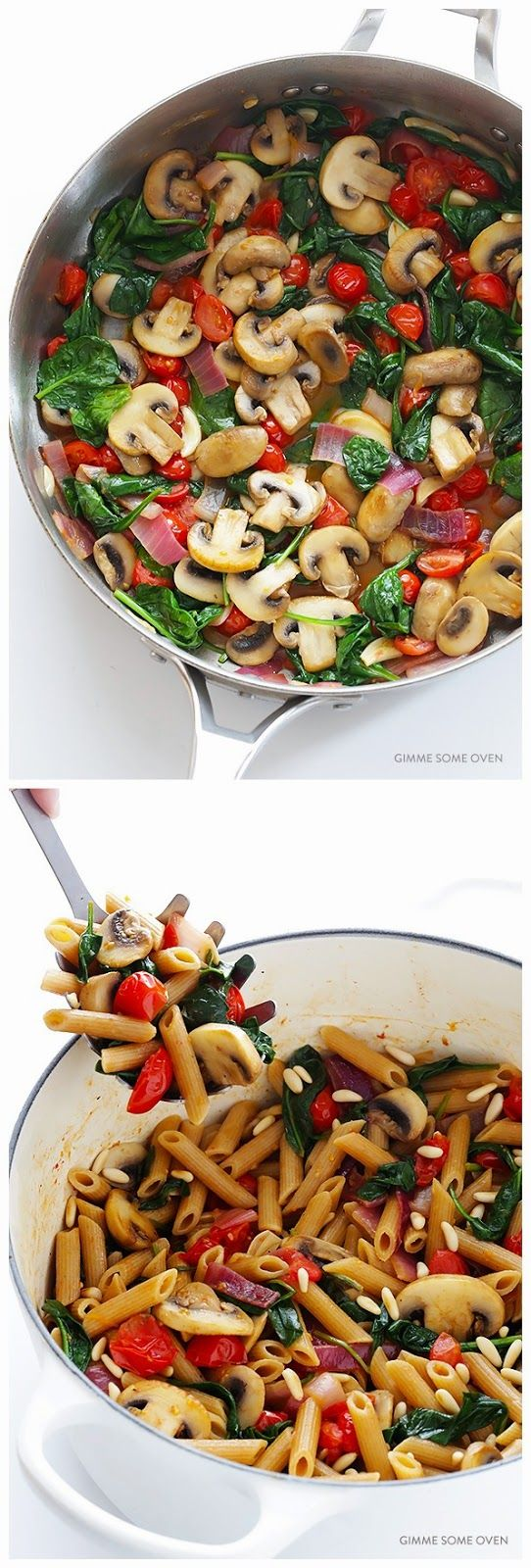 PASTA WITH MUSHROOMS, TOMATOES & SPINACH    INGREDIENTS     1 pound whole-wheat pasta, cooked al dente according to package instructions ...