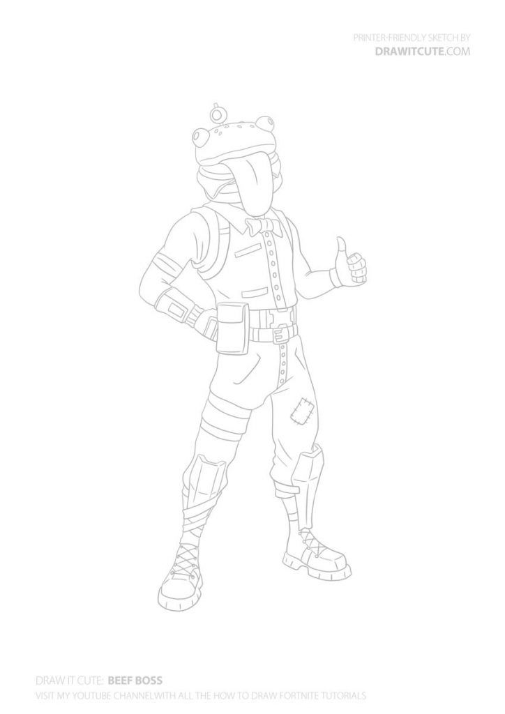 How To Draw Beef Boss How To Draw Fortnite Tutorial Draw It Cute Drawing Tutorial Drawings Cute Coloring Pages