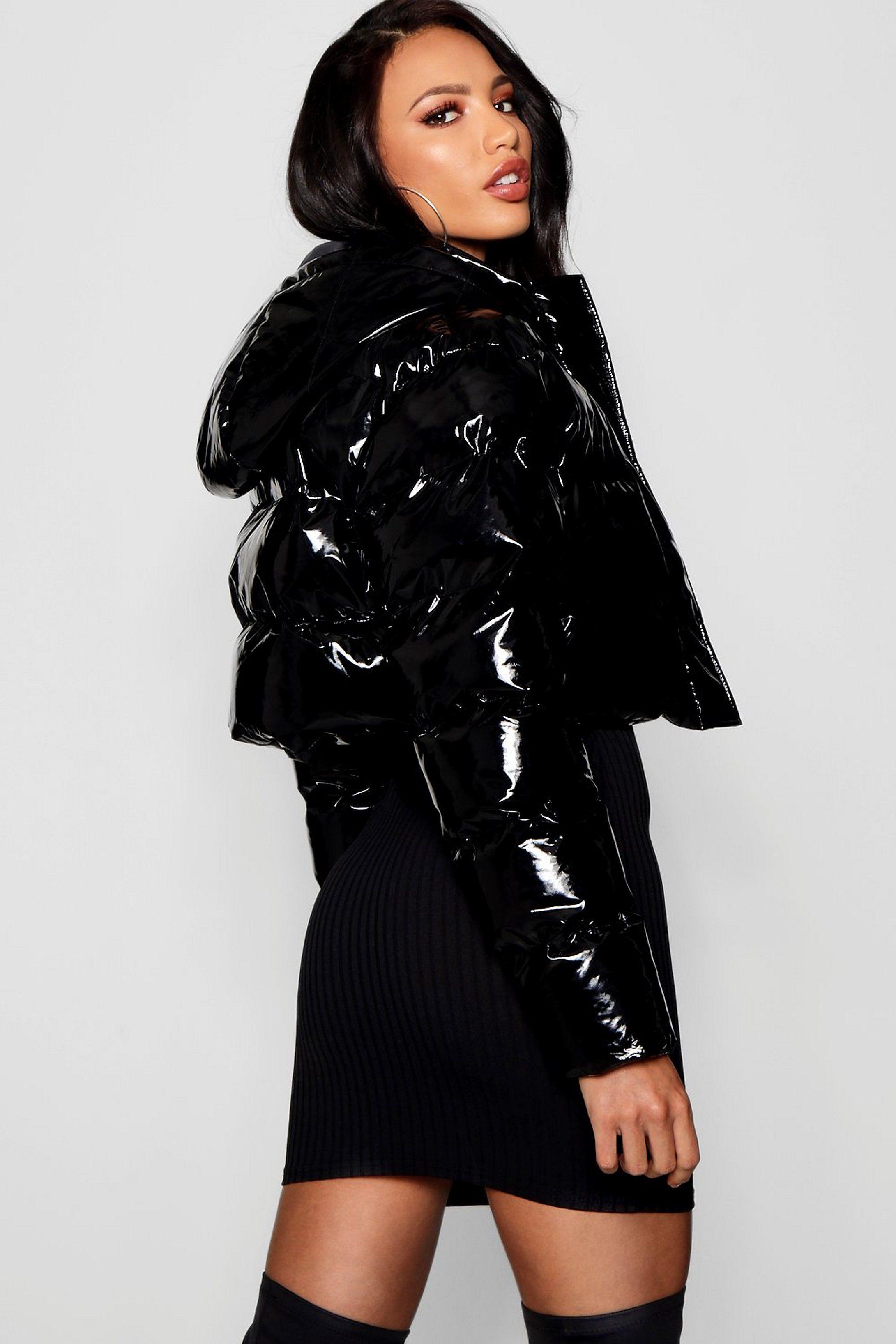 Crop Vinyl Puffer Jacket Boohoo Puffer Jacket Outfit Black Puffer Jacket Puffer Jacket Women