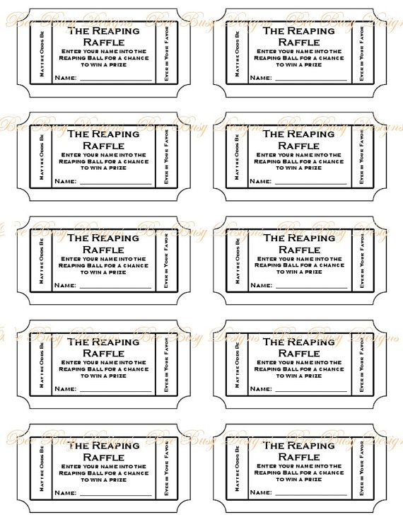 Printable The Reaping Raffle tickets Guest put their name on a - printable ticket template free