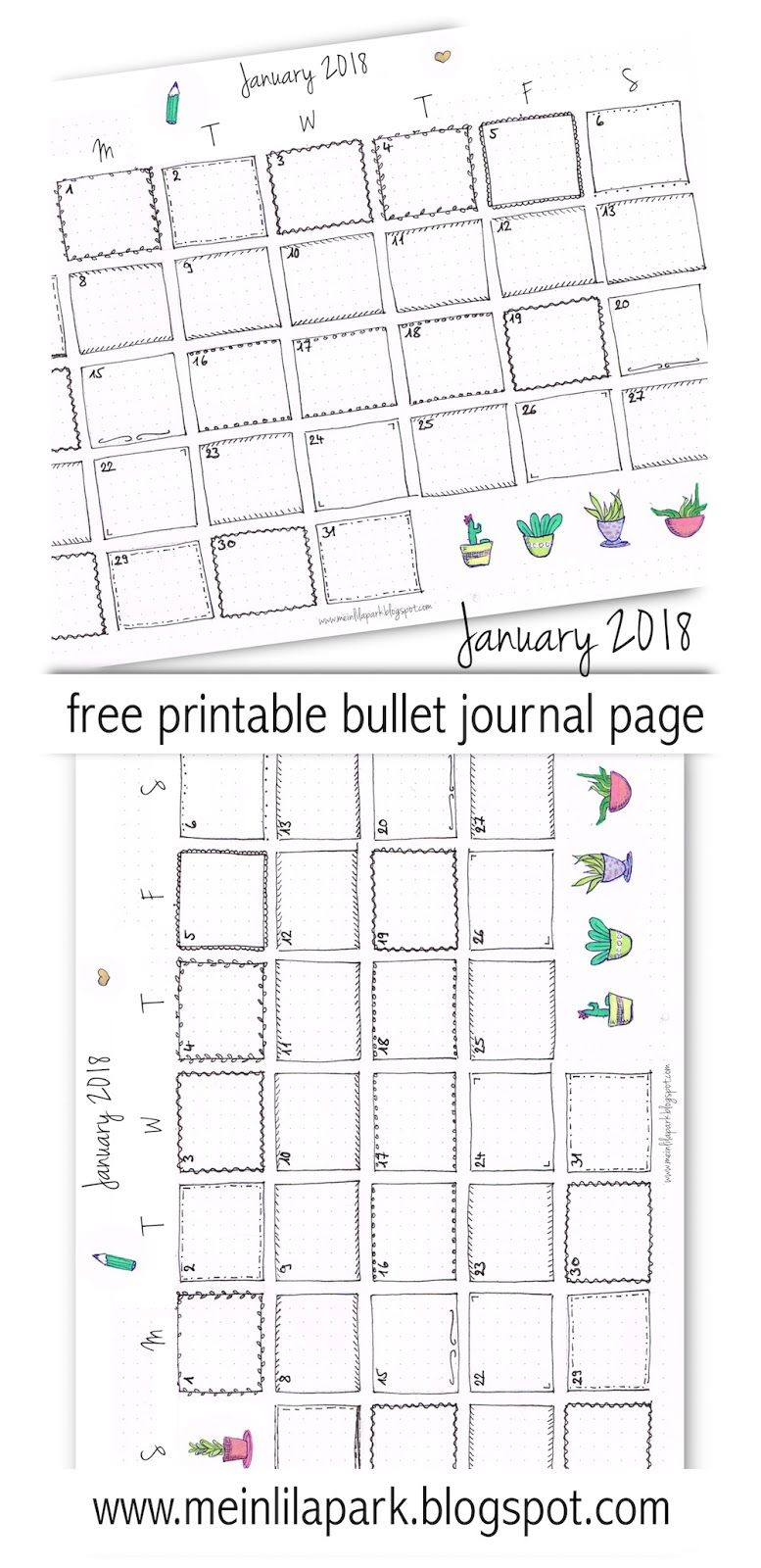 Calendar Bullet Journal 2018 : Free printable calendar page january bullet