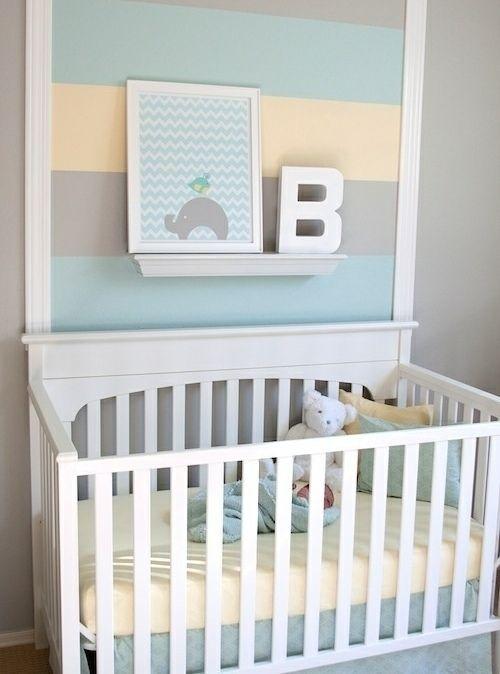 Babyzimmer Wand Streifen  Pastellfarben Junge Wandgestaltung Kinderzimmer  Jungen, Kinderzimmer Deko Ideen, Babyzimmer