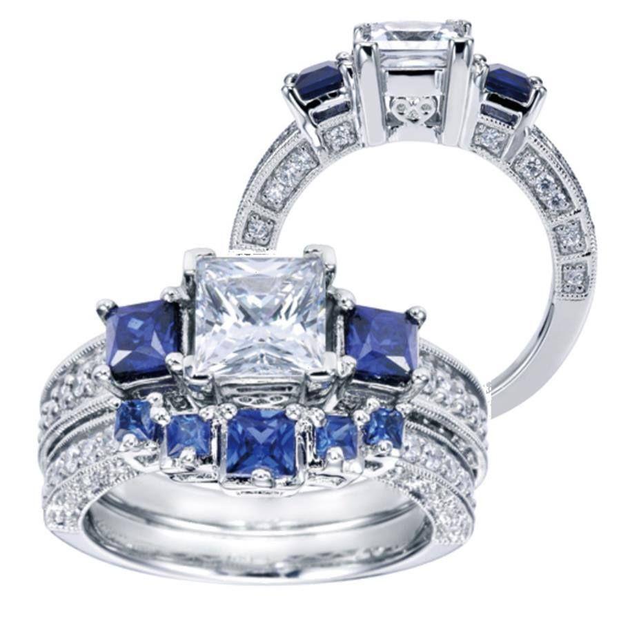 Princess cut diamond and sapphire bridal set Tidewater Keepsake Jewelers