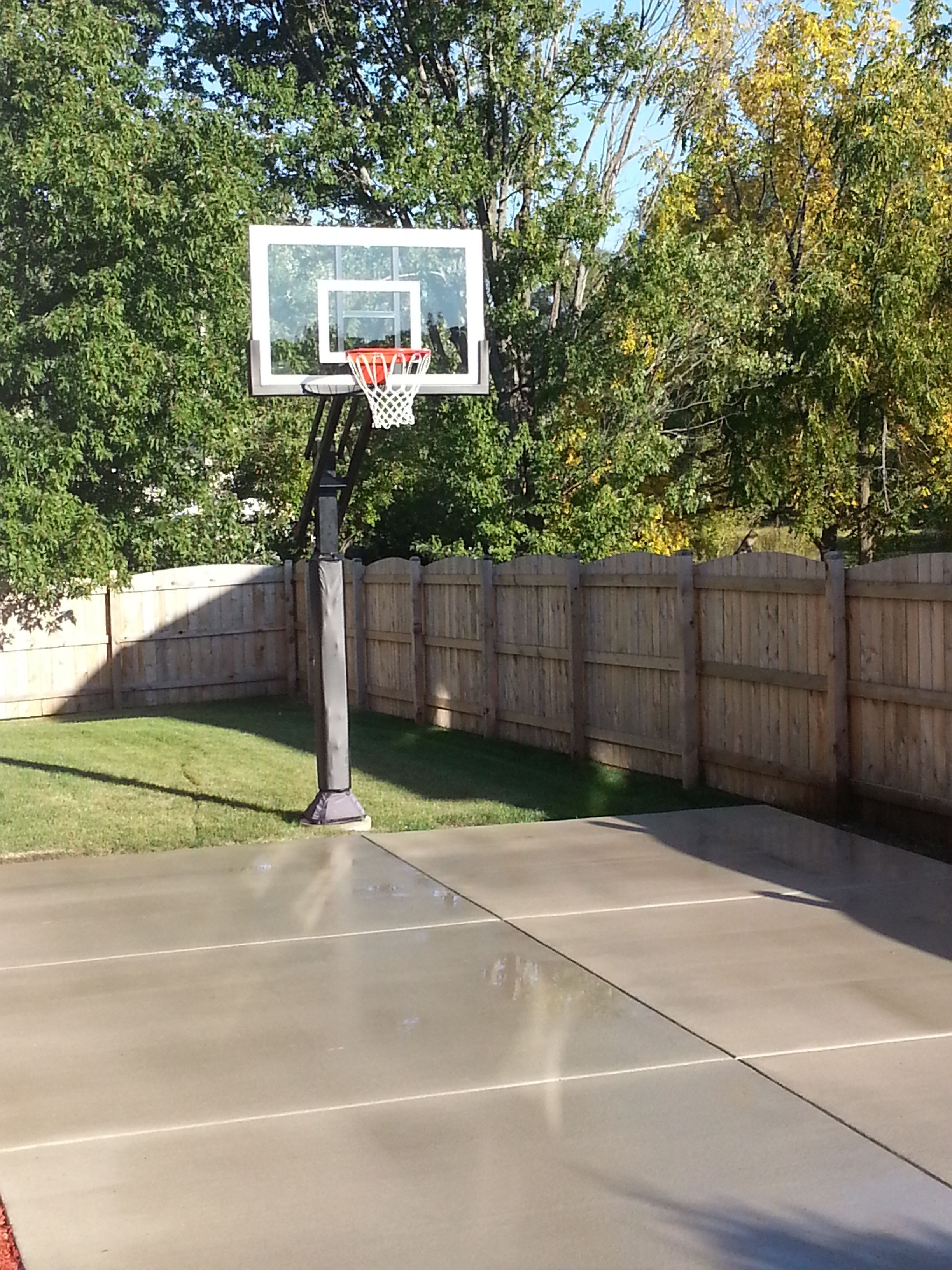 The Backyard Fence Encompes This Pro Dunk Silver Basketball Goal Standing Tall Over A Fresh Concrete Slab