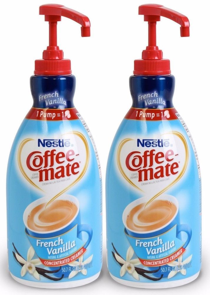 2 French Vanilla Coffee Creamer Non Dairy Liquid Pump Dispenser No