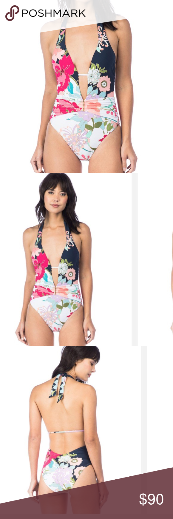 8eae309f142 Trina-Turk Royal Botanical V Plunge ONE PIECE US 6 Trina-Turk Royal  Botanical V Plunge ONE PIECE SWIMSUIT US 6 Trina Turk Swim One Pieces