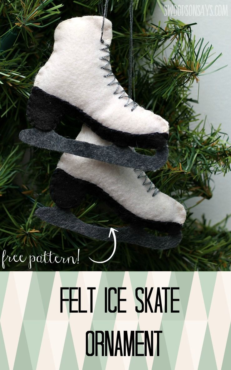 Free Felt Ice Skate Ornament Pattern Free Sewing