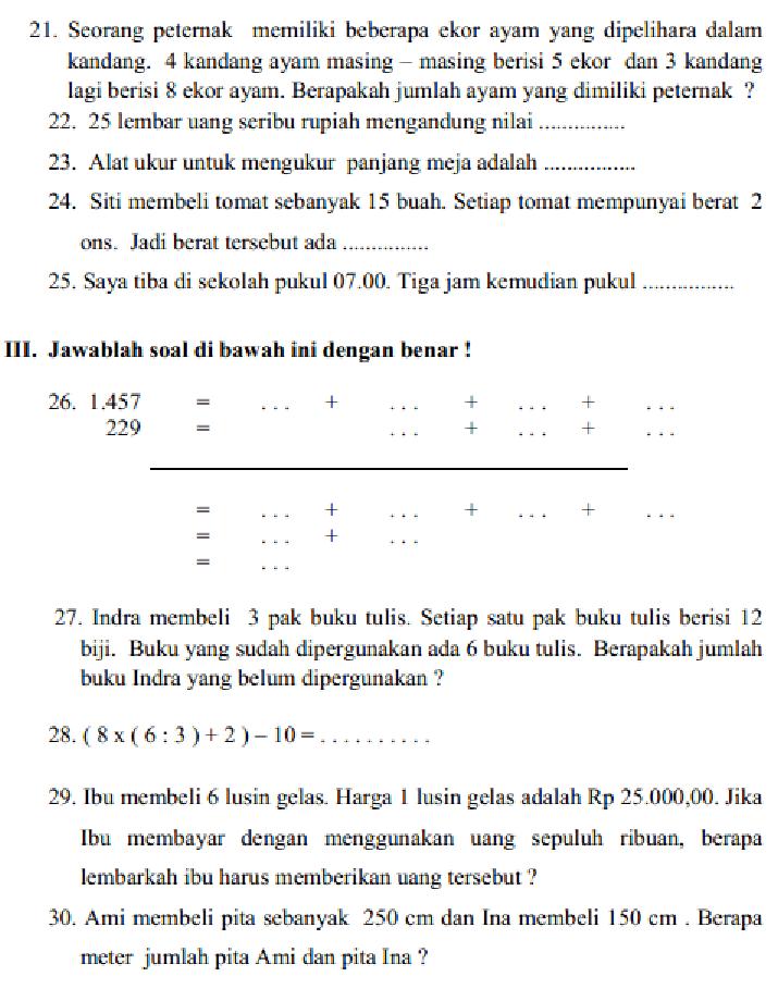 Soal Kelas 3 Sd : kelas, Education