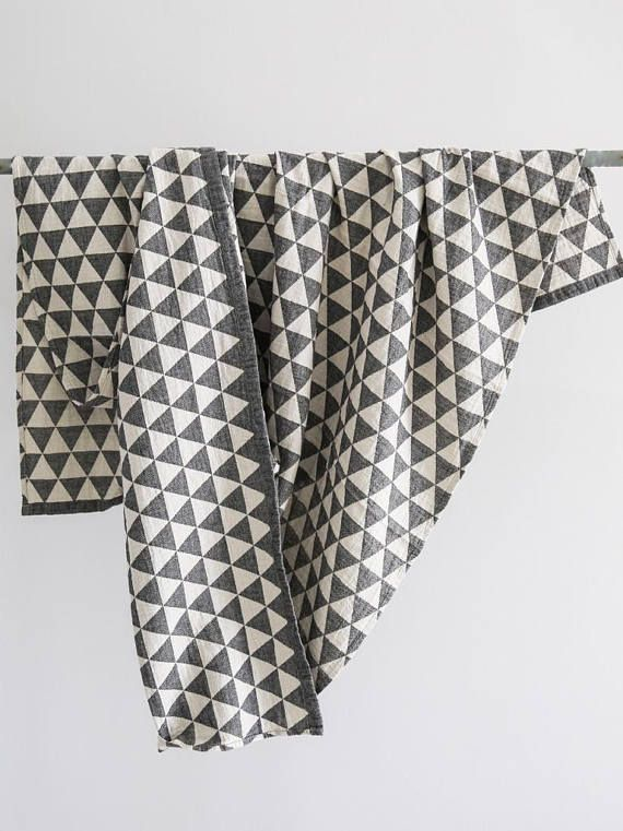 Wondrous Black White Cotton Bed Blanket Geometric Blanket Organic Dailytribune Chair Design For Home Dailytribuneorg