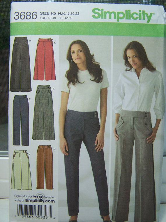 Simplicity 3686 Women S Pants Pattern Slim Or By Witsenddesign