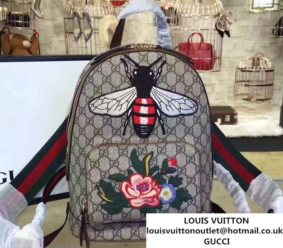 Gucci GG Supreme Small Backpack Bag 427042 Embroidered Bee and Flower 2017 76b57eb329