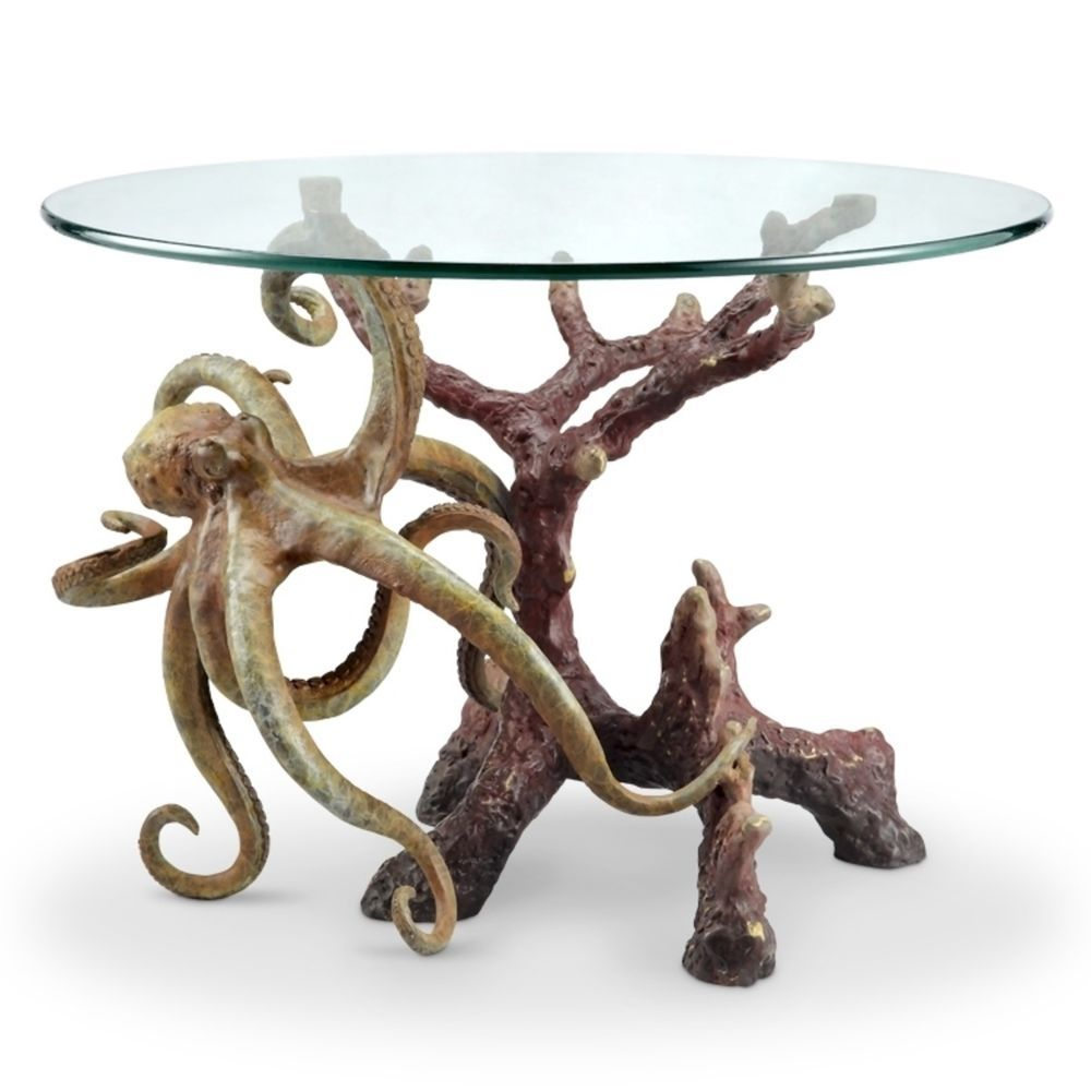 Unique Octopus Coffee Table Glass Top Round Nautical Style Coastal