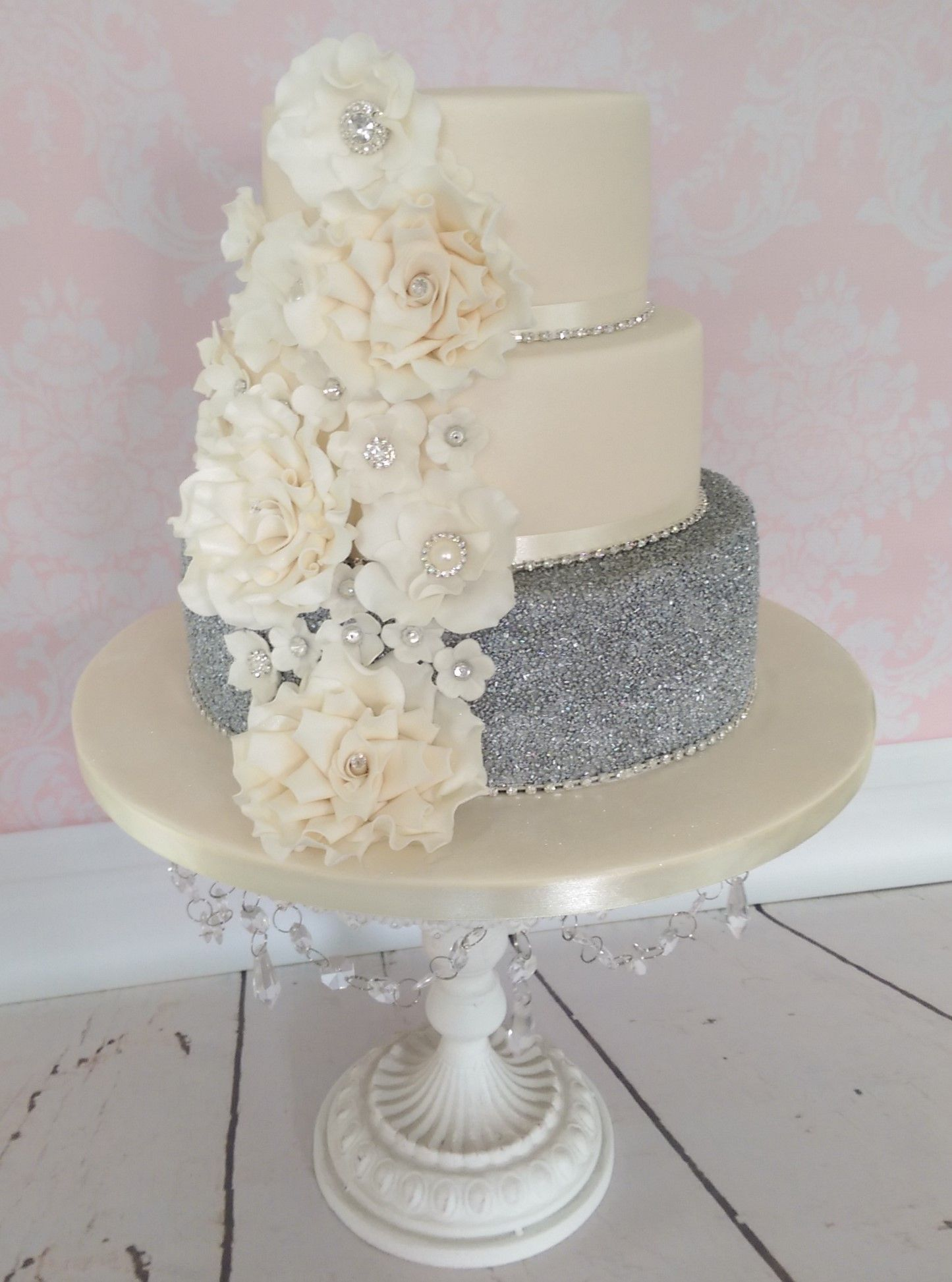 Ivory flowers wedding cake with sparkling sugar crystals | Cakes by ...
